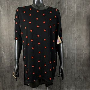 Lularoe Irma Black Red Polka Dot Tunic Top XS